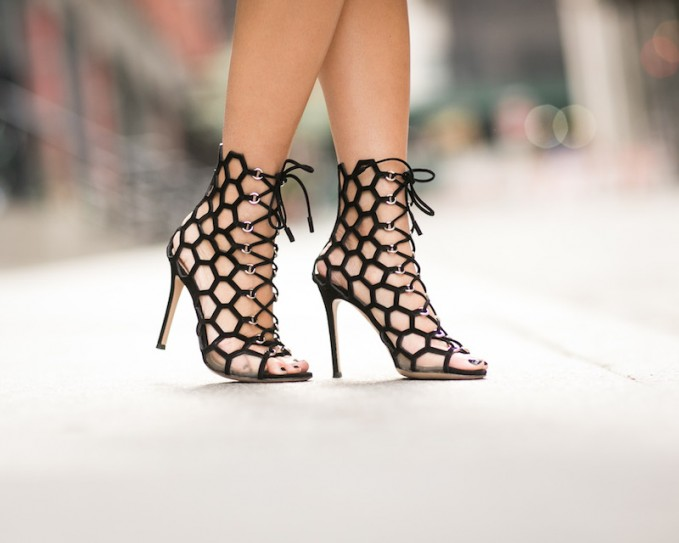 Gianvito Rossi Honeycomb Cutout Suede Sandals
