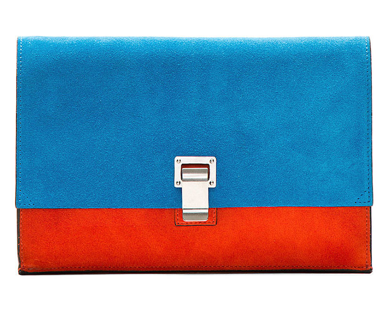 Proenza Schouler x SSENSE Exclusive Peacock Blue Suede Small Lunch Bag Clutch