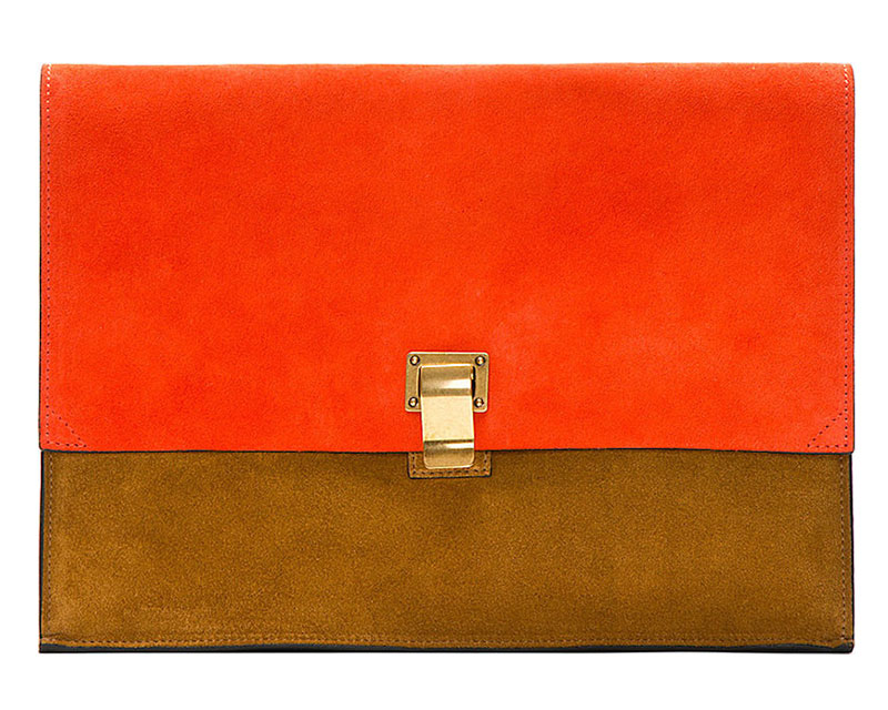 Proenza Schouler x SSENSE Exclusive Vermilion Suede Large Lunch Bag Clutch