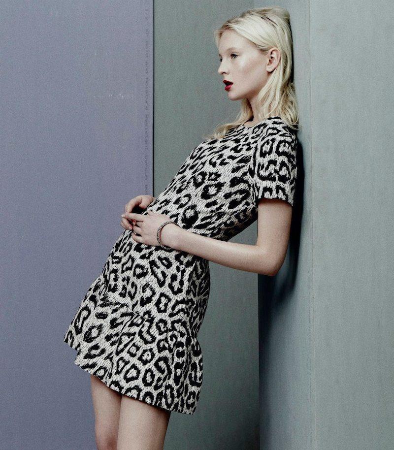 Sea Leopard-Pattern Flounce Dress