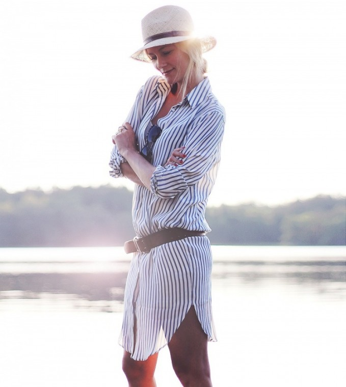 ASOS WHITE Silk Shirt Dress in Stripe Print