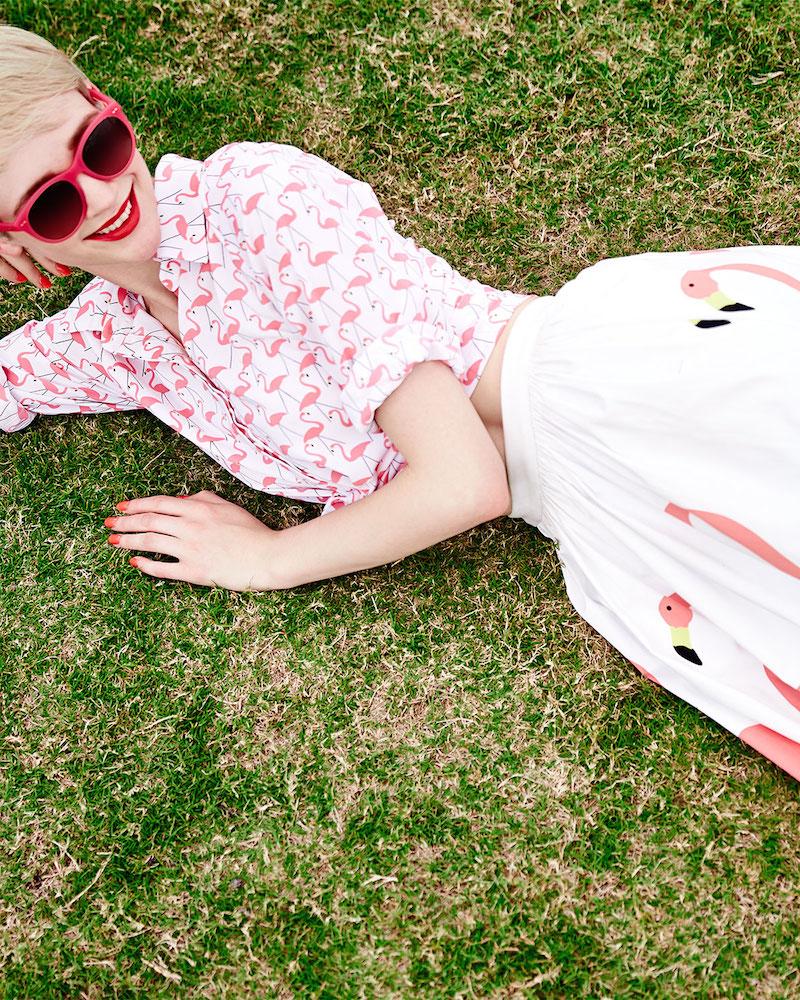 Alice + Olivia Willa Flamingo-Print Blouse