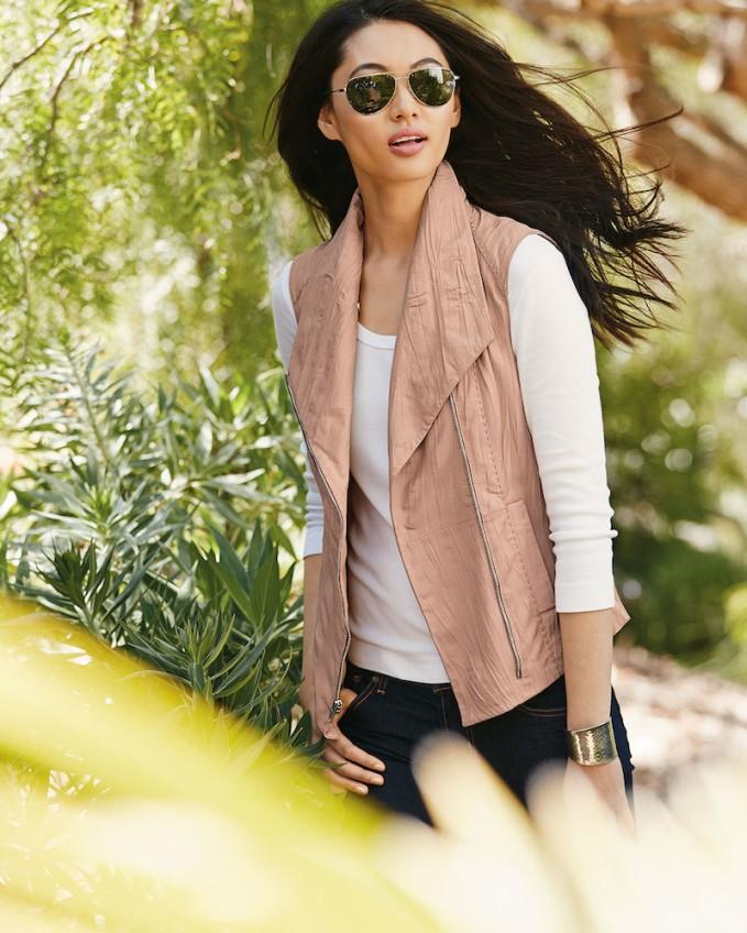 Bagatelle Leather & Knit Asymmetric Vest