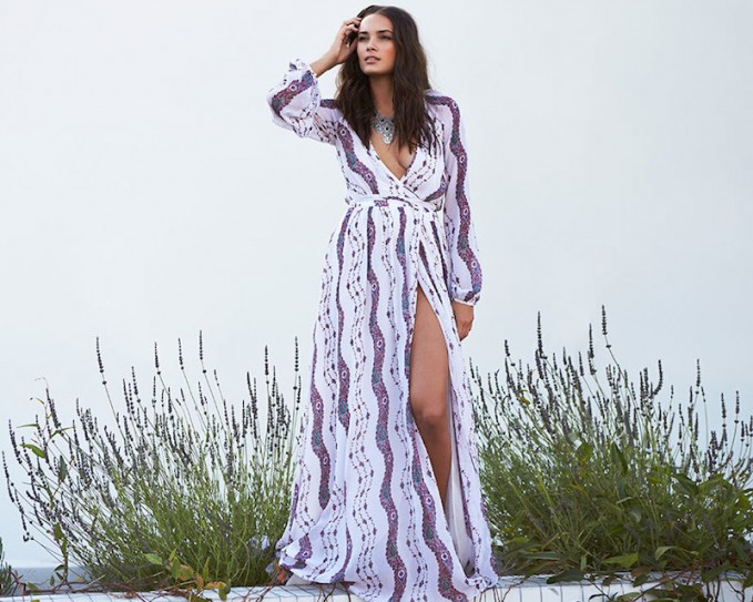 Marchesa Voyage Maxi Wrap Dress