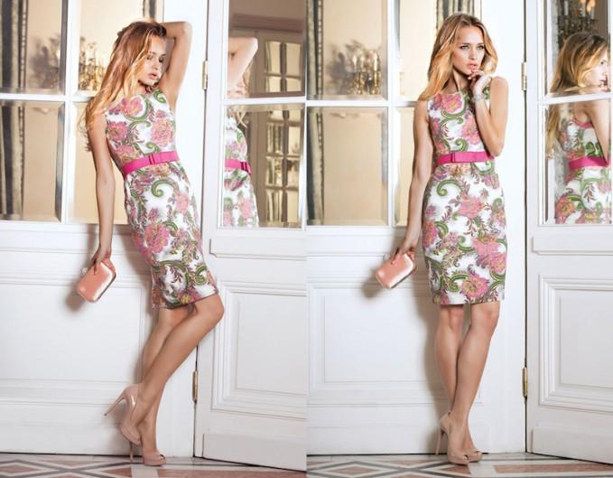 Nissa Multi Floral Jacquard Cotton Blend Dress