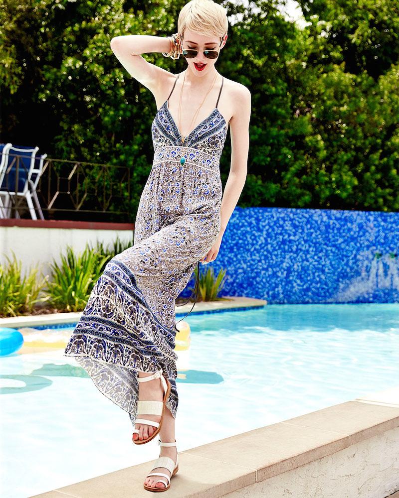 Rebecca Taylor Batik Floral Jersey Maxi Dress