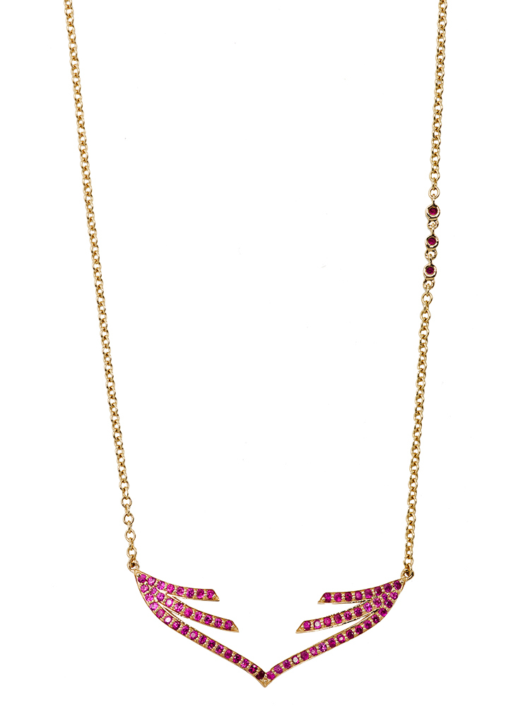 Stella Curved Open Wing Pendant Ruby by Paige Novick