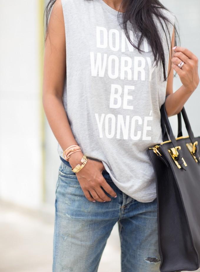Stylestalker Don't Worry Be Yoncé Muscle Tee