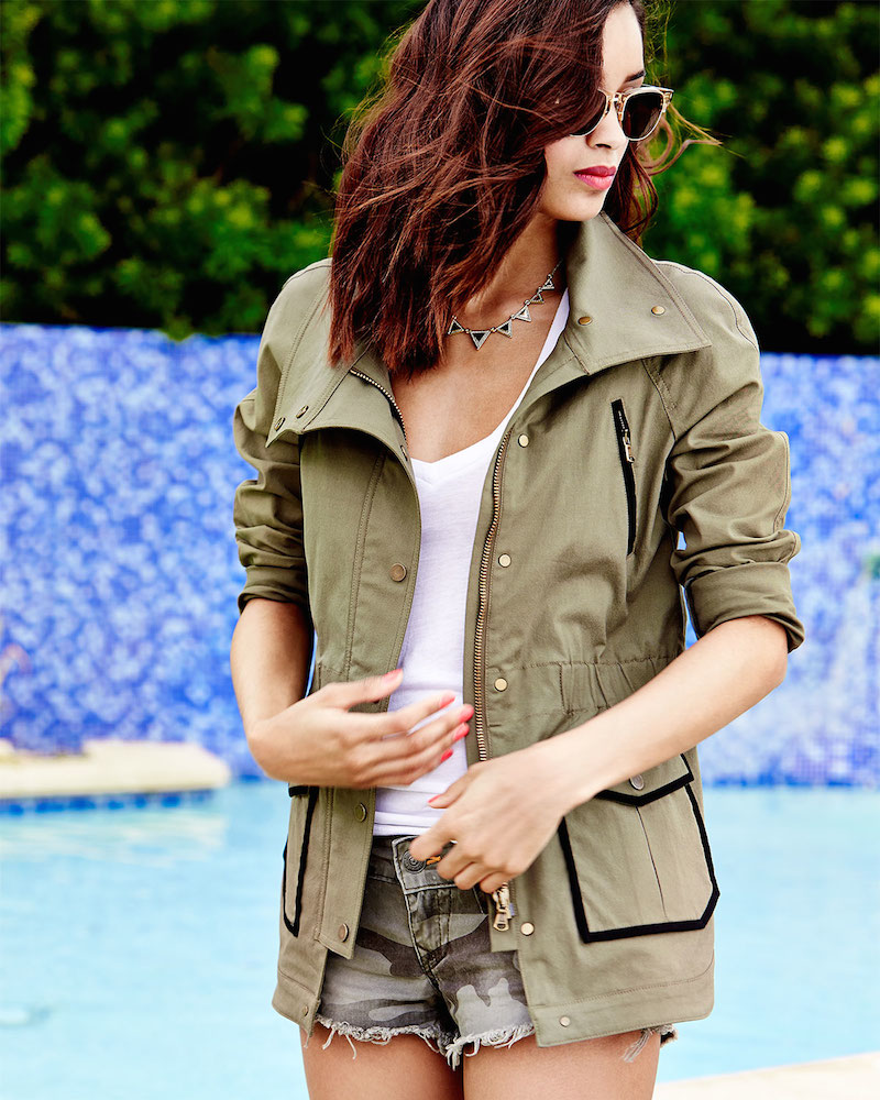 Veronica Beard Twill Contrast-Trim Military Jacket