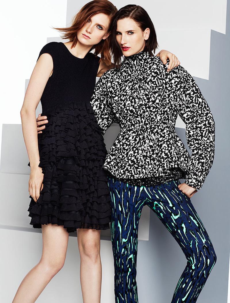 Alexander McQueen Ruffled Knit-Bodice Dress & Proenza Schouler Bouclé Jacquard Peplum Jacket