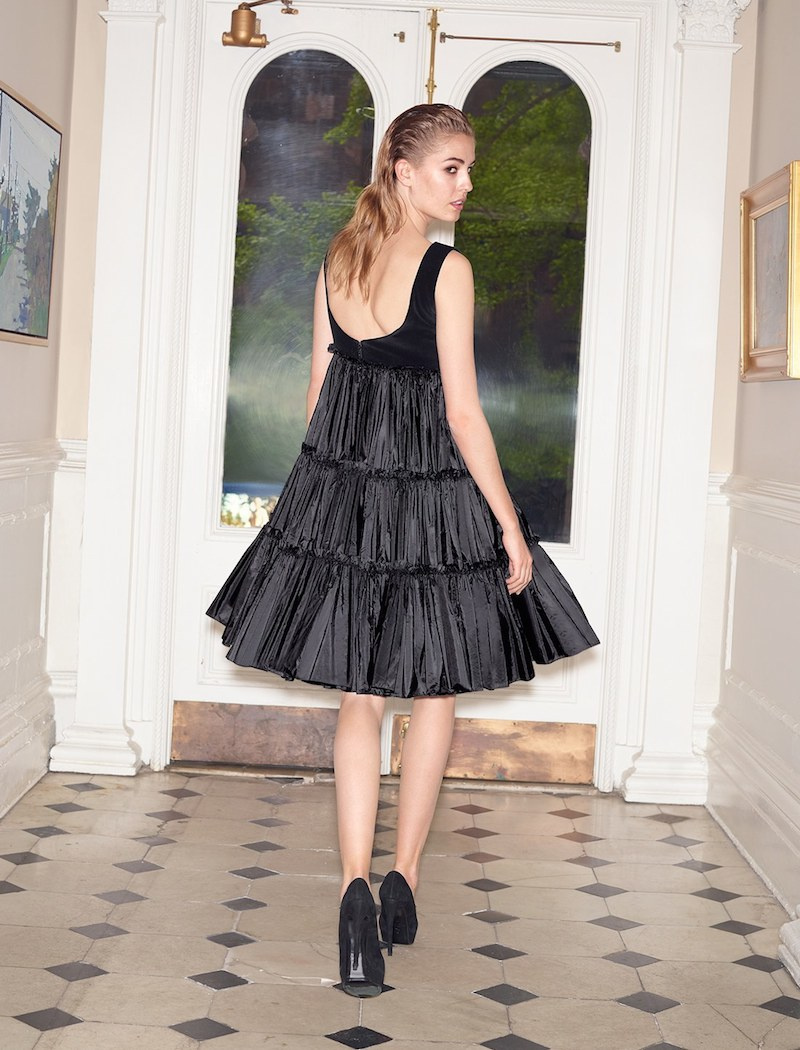 Alexander McQueen Velvet & Taffeta Cocktail Dress