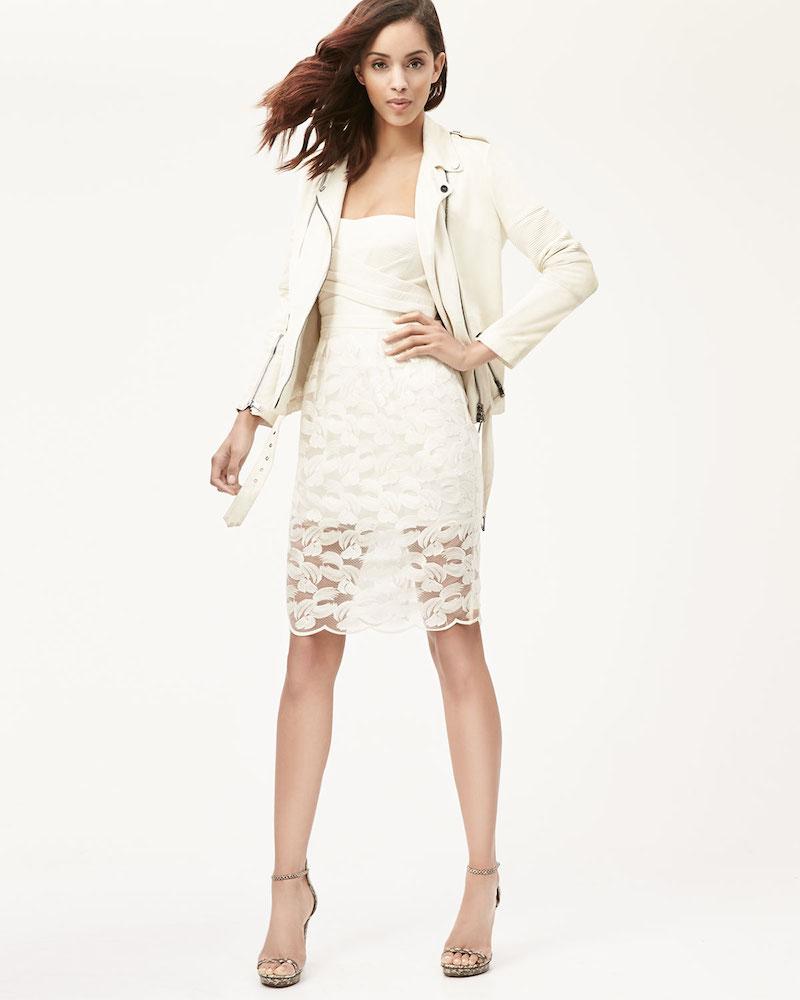 BCBGMAXAZRIA Adrianna Knit & Mesh-Overlay Strapless Dress