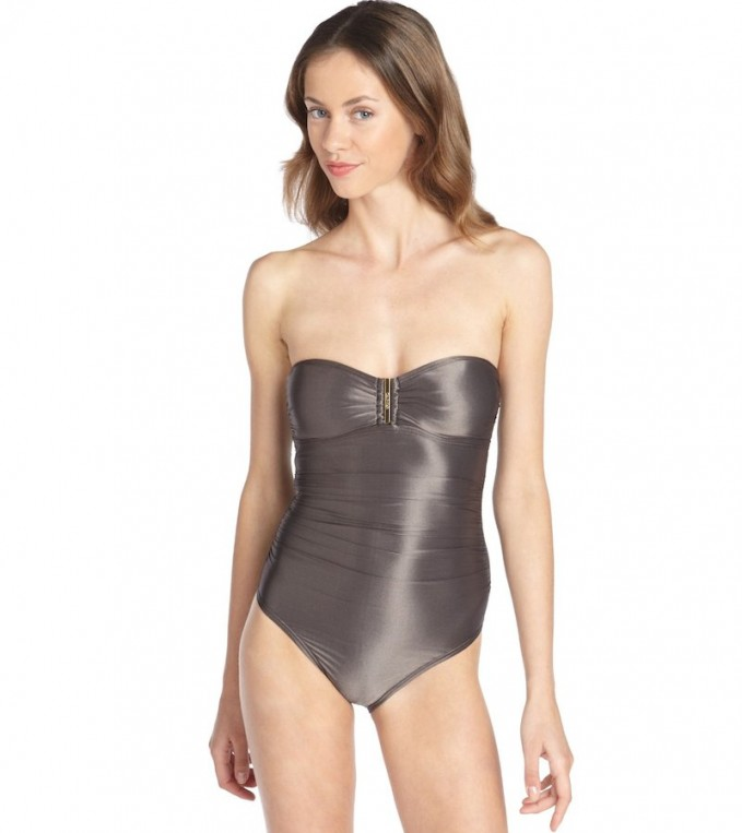 Calvin Klein Metallic Grey Bandeau One-piece Swimsuit