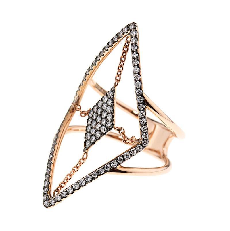 Diane Kordas Diamond & Rose-Gold Floating Ring_1