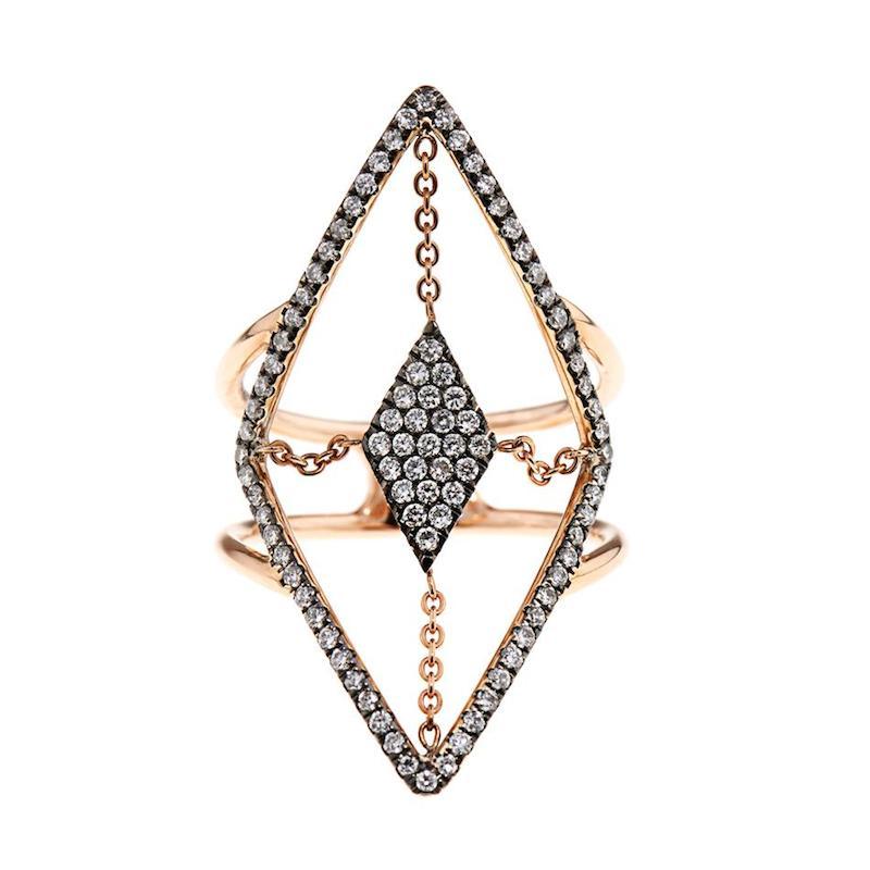 Diane Kordas Diamond & Rose-Gold Floating Ring_2