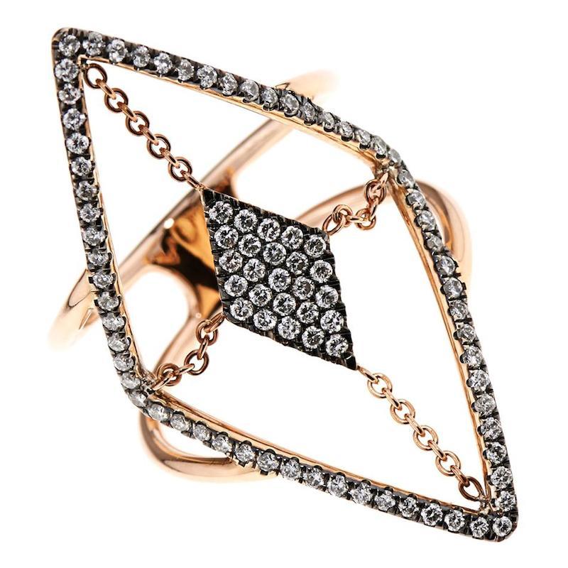 Diane Kordas Diamond & Rose-Gold Floating Ring_3