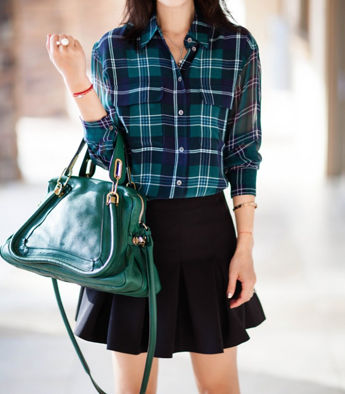 Equipment Contrast Sleeves Signature Plaid Blouse