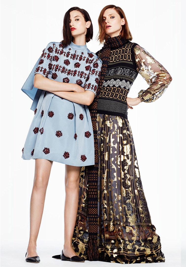 Erdem Beaded Silk Cape-Back Dress & Etro Knit Shell