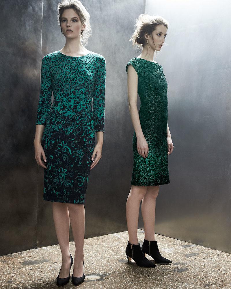 Escada Cap-Sleeve Metallic Sheath Dress