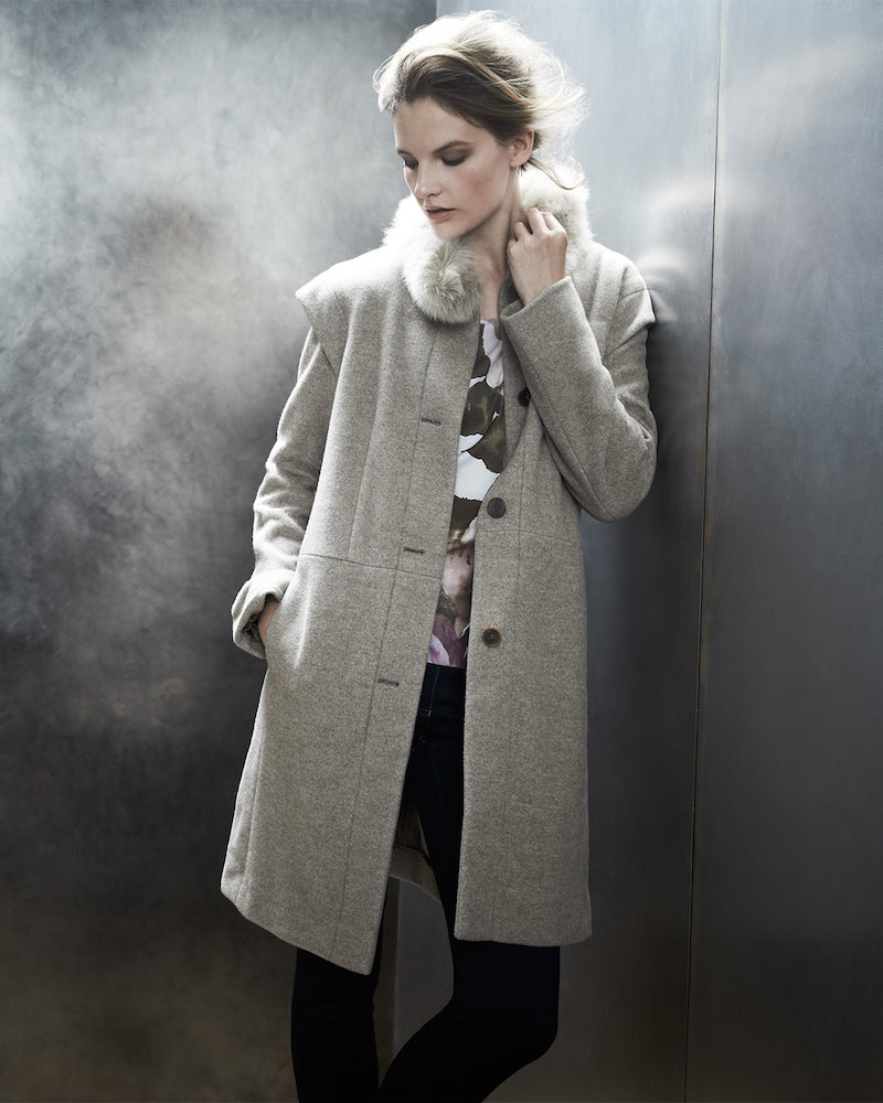 Escada Fur-Trim Coat with Removable Sleeves