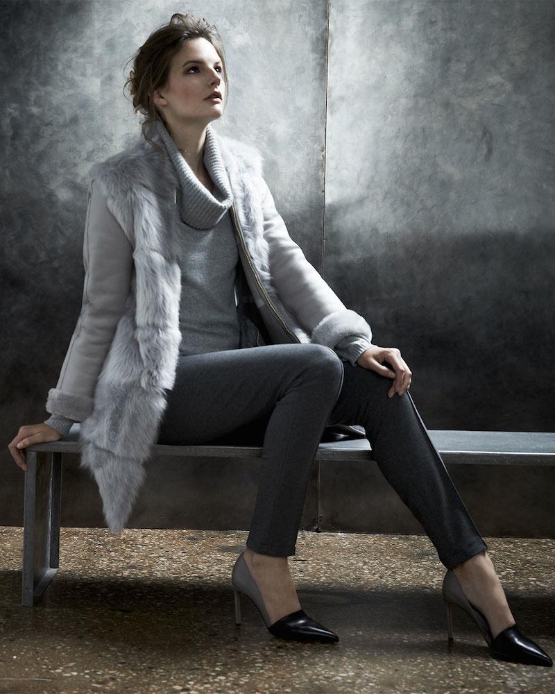 Escada Shearling Fur-Front Zip Coat & Loose-Turtleneck Cashmere Sweater & Seamed Straight-Leg Pants