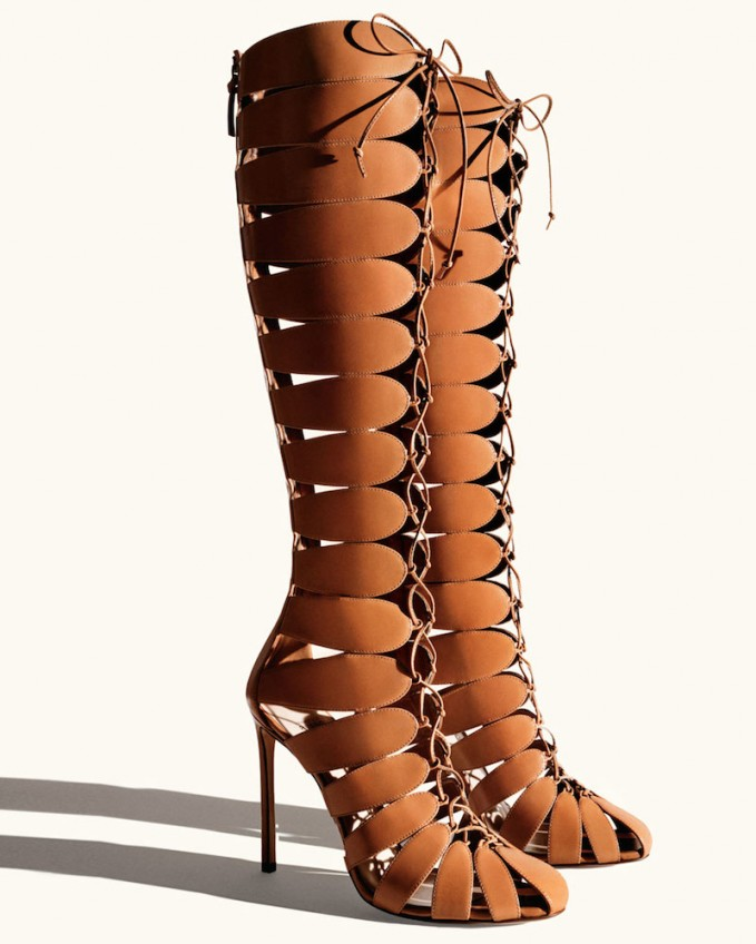 Francesco Russo Closed-Toe Gladiator Knee Boot