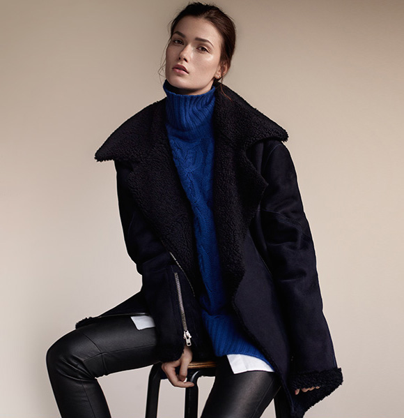 Freda Navy Shearling Biker Coat