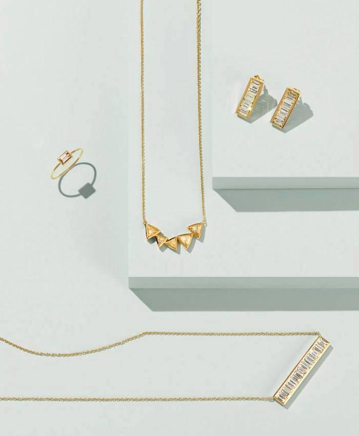 Jennifer Meyer Baguette Diamond & Gold Bar Studs