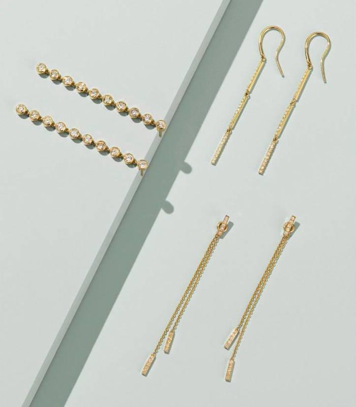 Jennifer Meyer Diamond & Gold Drop Earrings