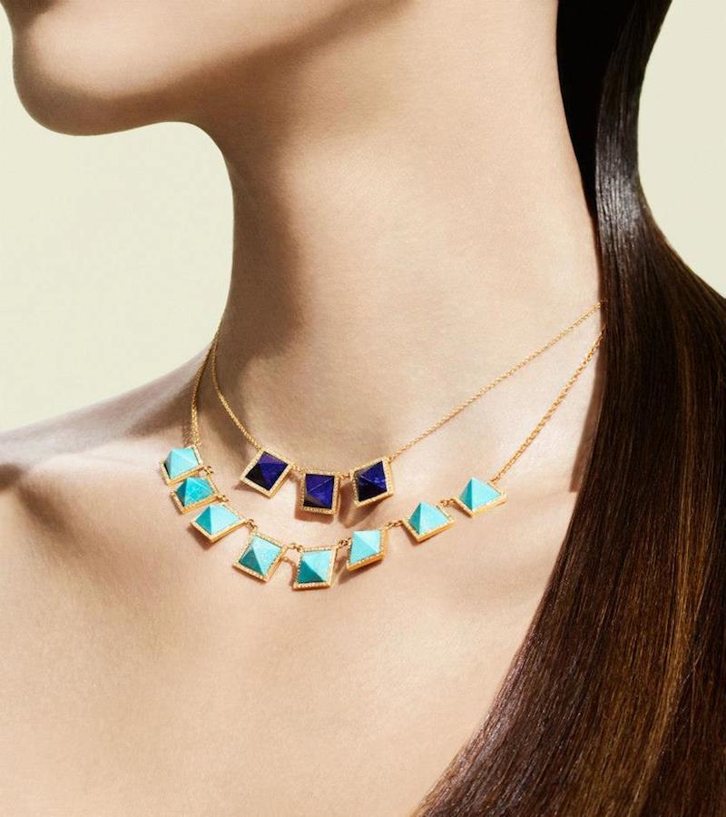 Jennifer Meyer Diamond, Lapis & Gold Pyramid Necklace