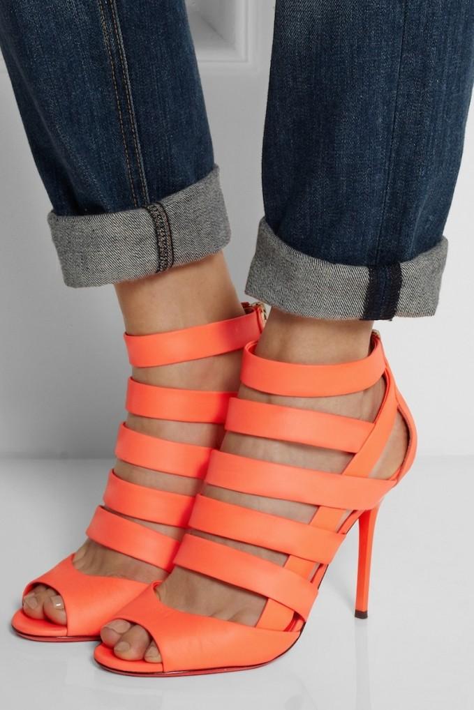 Jimmy Choo Damsen Neon Matte-leather Sandals