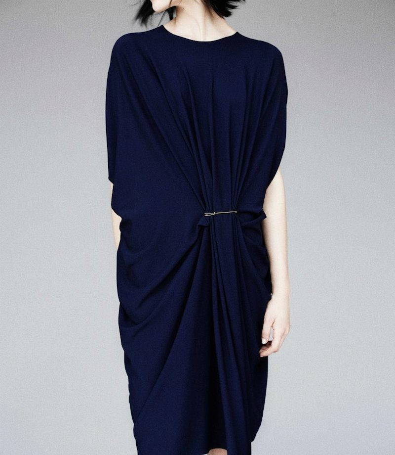 Lanvin Draped Pinch-Waist Kaftan Dress
