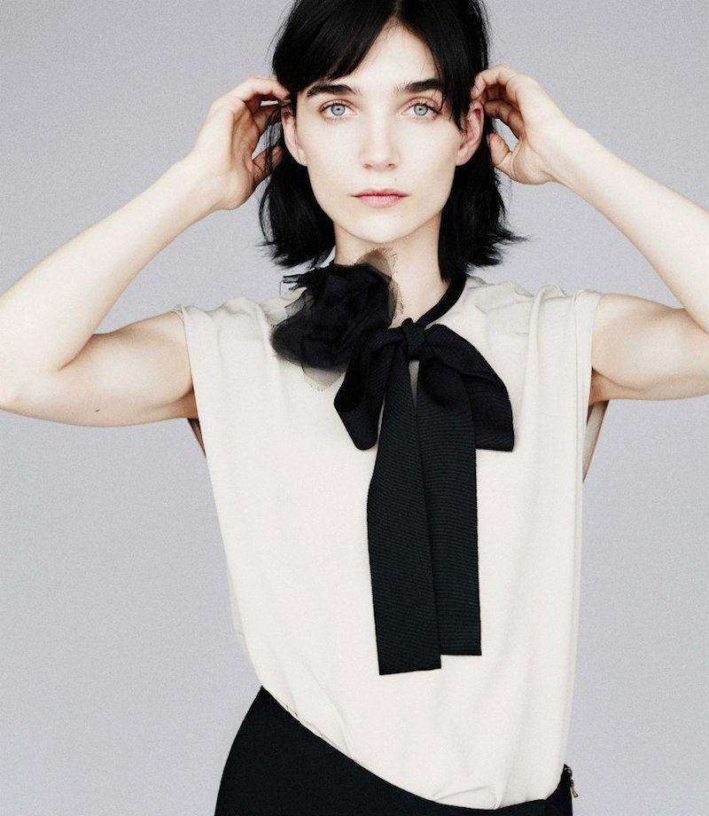 Lanvin Grosgrain-Tie Silk Blouse