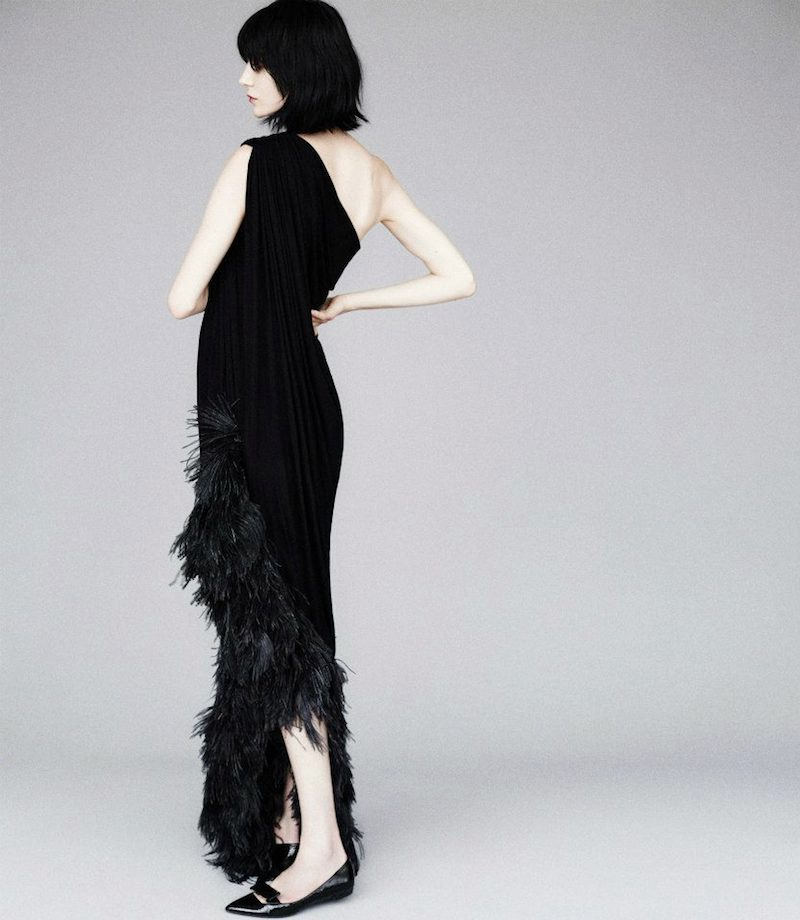 Lanvin Ostrich Feather-Trimmed Jersey One-Shoulder Gown
