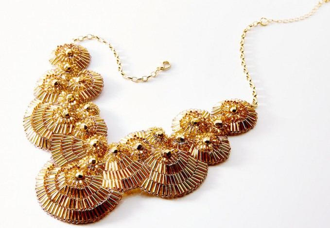 Lavish by Tricia Milaneze Gold Beaded Bib Necklace