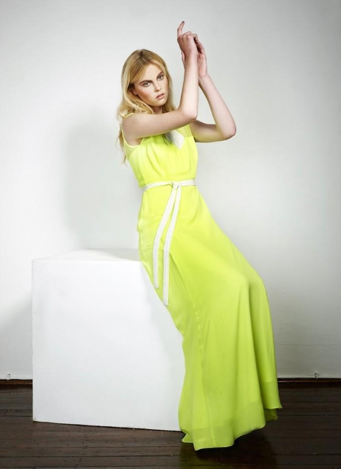 Libelula London Fluorescent Yellow Robyn Silk Maxi Dress