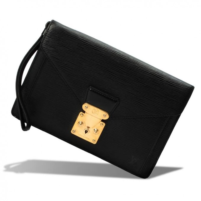 Louis Vuitton Black Epi Leather Sellier Dragonne Clutch