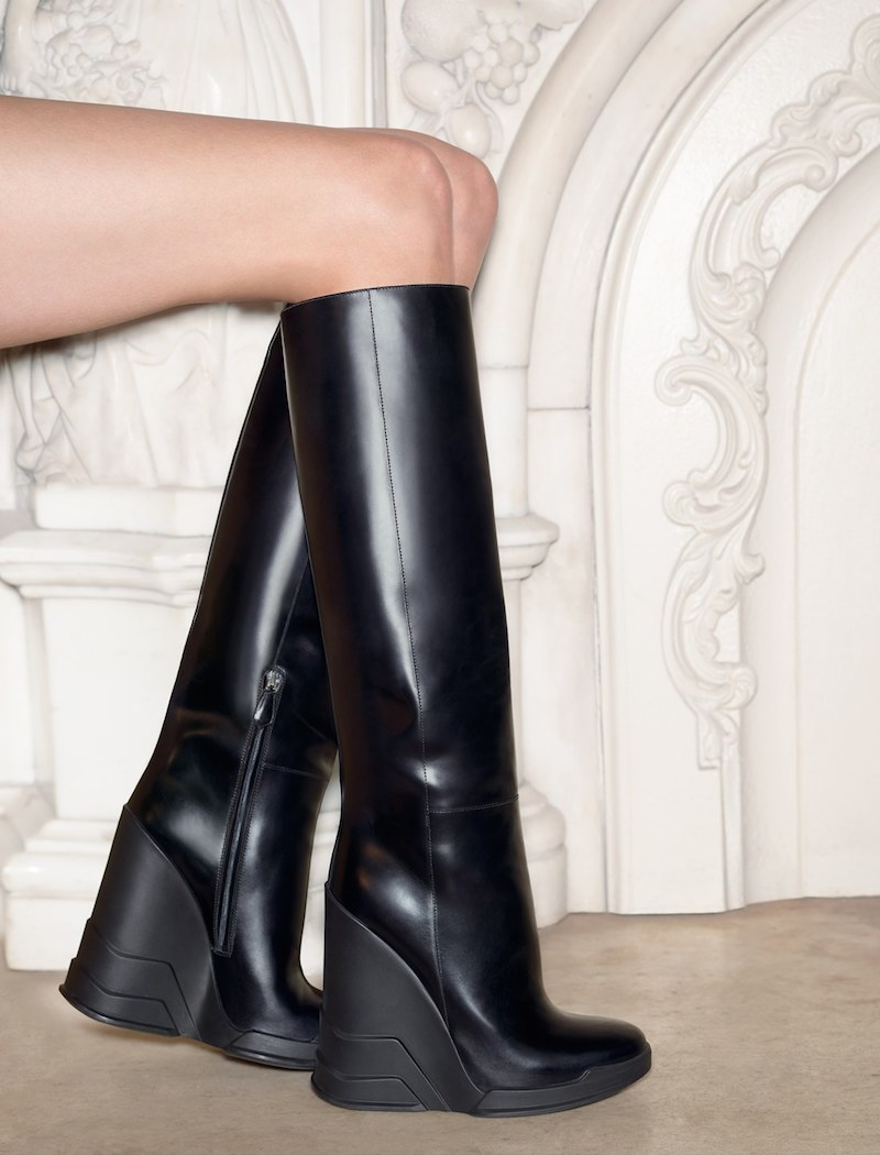 Prada Knee High Wedge Boot