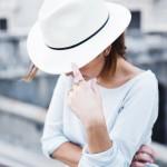 REISS Hattie Cream Wool Trilby Hat