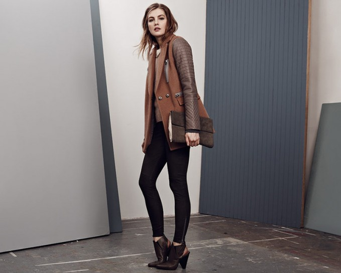 Rebecca Taylor Wool Coat with Leather Sleeves