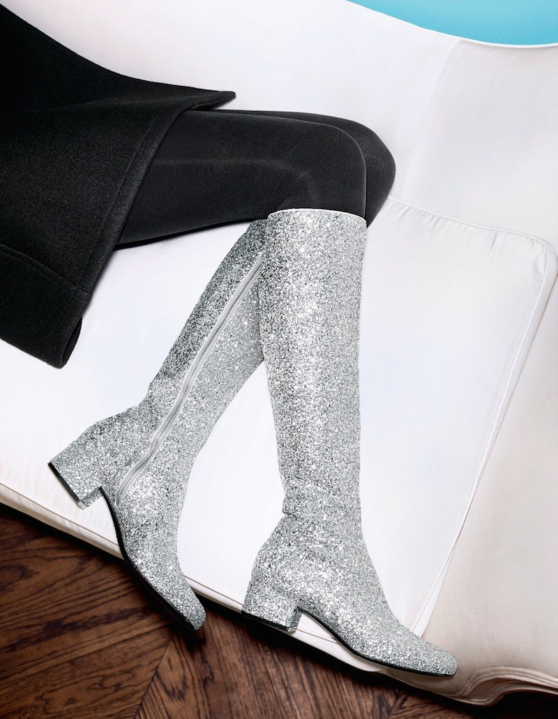Saint Laurent Over the Knee Glitter Boot