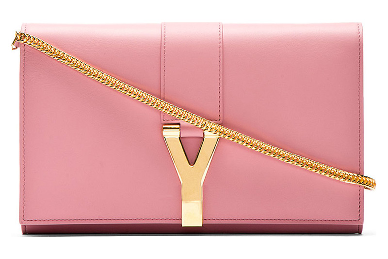 Saint Laurent Rose Leather Ligne Y Chain Wallet