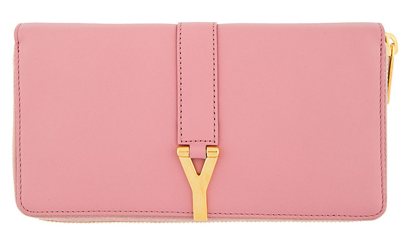 Saint Laurent Rose Leather Ligne Y Continental Wallet