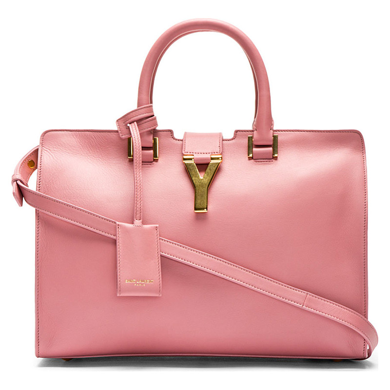 Saint Laurent Rose Leather Ligne Y Small Cabas Tote