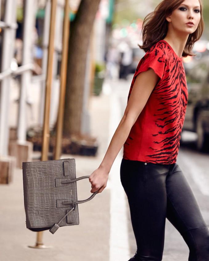 Saint Laurent Sac de Jour Croc-Print Carryall Bag