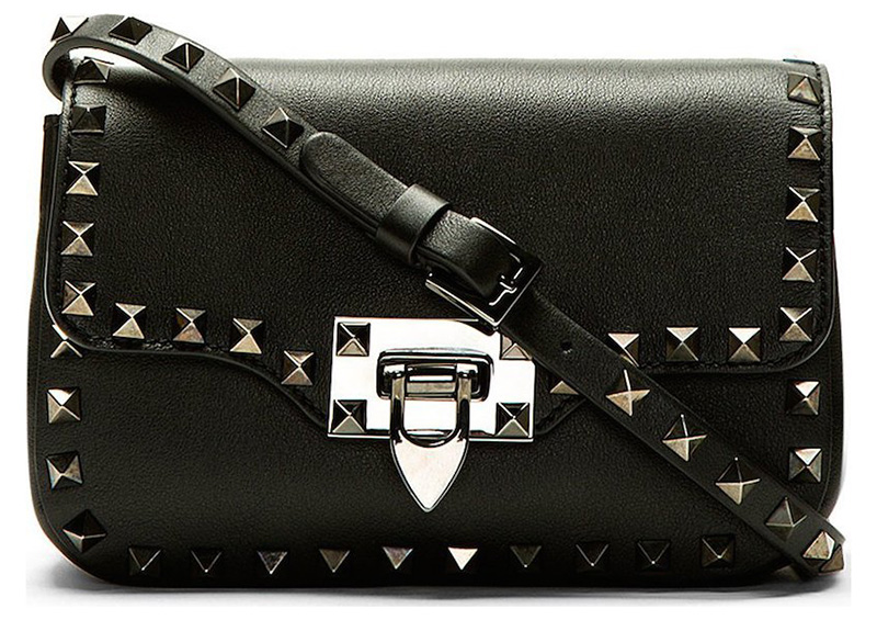 Valentino Black Matte Leather Rockstud Cross Body Bag