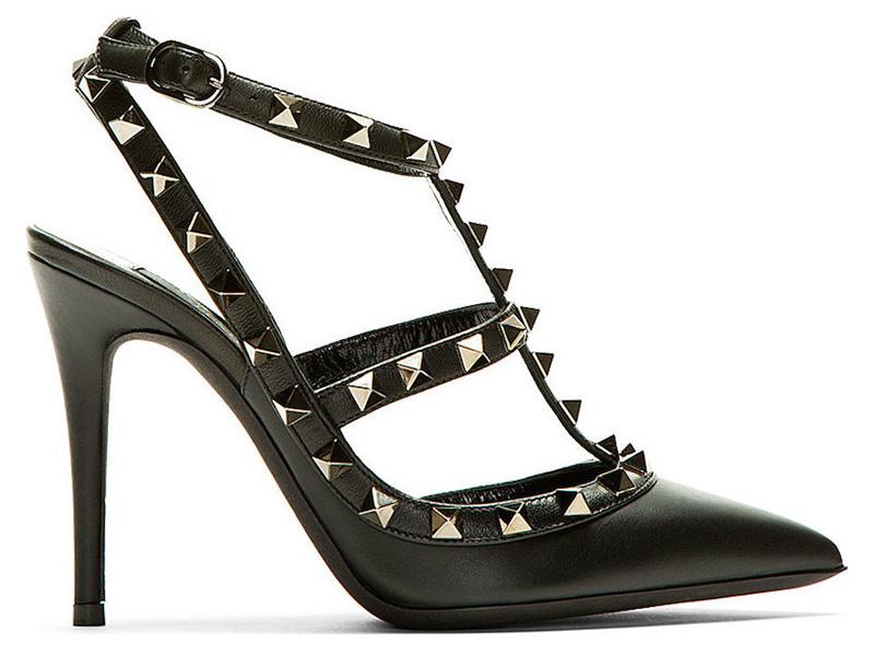 Valentino Black & gunmetal Rockstud Slingback heels