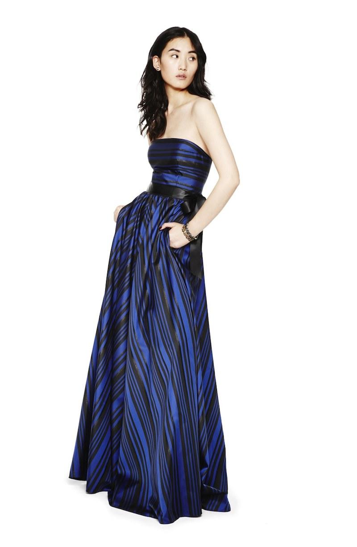 Adrianna Papell Metallic Stripe Gown