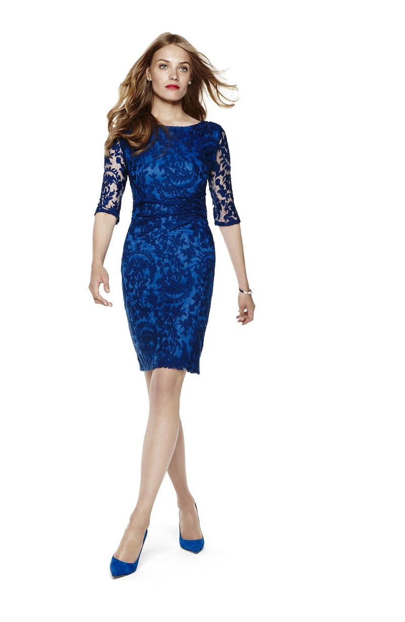 Adrianna Papell Ruched Lace Sheath Dress_1
