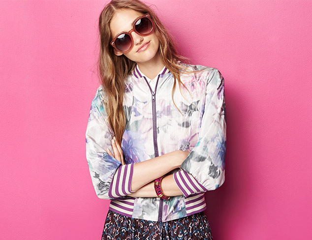 Anna Sui Watercolor Washed Baseball Jacket